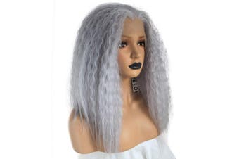 Anogol Hair Cap+Grey Lace Front Wig Shoulder Length Yaki Synthetic Hair Kinky Curly Wigs For Women