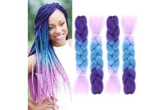 (Deep, Light Blue, Light Purple) - 4PCS/Lot Ombre Kanekalon Braiding Hair Extensions Jumbo Braiding Hair High Temperature Synthetic Twist Braids Hair Extension 60cm (light blue purple) B56