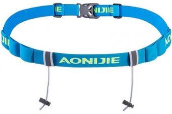 (Blue) - Azarxis Triathlon Race Number Belt Running Bib Holder for Marathon Cycling Elastic Adjustable Multifunction with 6 Gel Loops