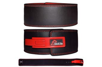 (Small, Black/Red) - RAULAM INTERNATIONAL Lever Belt -Weight lifting lever belt/Power lifting lever belt/Buckle belt - Weight lifting Belt