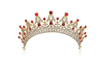 (Red) - ArtiDeco Crystal Wedding Tiara Crown Rhinestone Princess Tiara Vintage Wedding Accesories Bridal Tiara Headpiece with Comb Pin (Red)