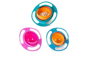 (3Pcs (Blue + Green + Rose)) - BUYITNOW 3 PCS Baby Gyro Bowl 360 Dgree Rotation Gyroscope Tableware Spill-proof Bowl for Kids Toddlers