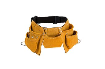 (Yellow) - Cowhide Leather Multi-Purpose Kids Tool Belt Adjustable Children's Tool Pouch Candy Tote Apron for Costumes Dress Up Role Play (CYGJB38) (Yellow)