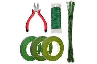 (6 Pcs) - Bantoye 6 Pcs Floral Arrangement Tool Kit, 12cm Wire Cutter, 3 Rolls Floriculture Paper Tapes 26 Gauge Floral Wire & 41cm Floral Stem Wire for Bouquet Stem Wrap Florist
