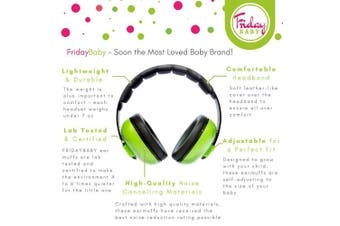 (Green) - Fridaybaby Baby Ear Protection (0-2+ Years) - Comfortable and Adjustable Noise Cancelling Baby Ear Muffs for Infants & Newborns | Baby Headphones Noise Reduction for Aeroplanes Fireworks Concerts
