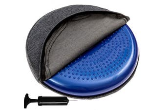 (Dark Gray Overlay) - bintiva Inflated Stability Wobble Cushion, With removable washable overlay, Including Free Pump/Exercise Fitness Core Balance Disc
