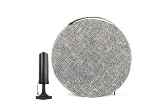 (Light Gray Overlay) - bintiva Inflated Stability Wobble Cushion, With removable washable overlay, Including Free Pump/Exercise Fitness Core Balance Disc
