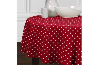 (230cm  Round) - A LuxeHome Red and White Modern Mod Contemporary Polka Dot Cover Tabletop Tablecloth Dining Room Kitchen Round 230cm