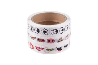 Bluecell Colourful Eye Nose Mouth Cartoon Mini Sticker Decal for Party Favour Décor Notebook Sticker Colouring Book-3 rolls/2200pcs