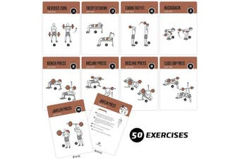 """Exercise Cards Barbell By Newme Fitness – Contains 50 Barbell Exercises – Total Body Workout– Perfect For Home Workouts – Your Personal Trainer – Large Durable Waterproof 3.5""""X5"""" Cards"""
