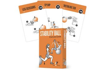 Exercise Cards Stability, Balance Ball - Includes 6, Total Body At Home Workouts : Extra Large, Waterproof, Durable with Diagrams & Instructions : Portable Fitness for Men & Women : 62 cards