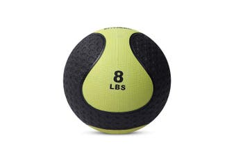 (c. 8lb - Yellow) - Medicine Exercise Ball with Dual Texture for Superior Grip by Day 1 Fitness - 10 Sizes Available, 1.8-9.1kg - Fitness Balls for Plyometrics, Workouts - Improves Balance, Flexibility, Coordination