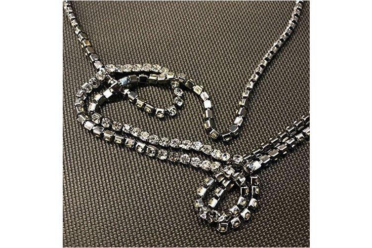 (Silver) - Kercisbeauty Multi Row Boho Rhinestones Choker Long Chain Necklace for Women and Girls Prom Jewellery Festival (Silver)