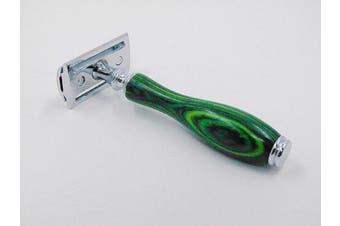 (Evergreen-Green) - Putali Ltd. | Premium Double Edge Safety Shaving Razor for Men or Women– No Slip Eco Friendly Pakkawood Handle (Evergreen-Green)