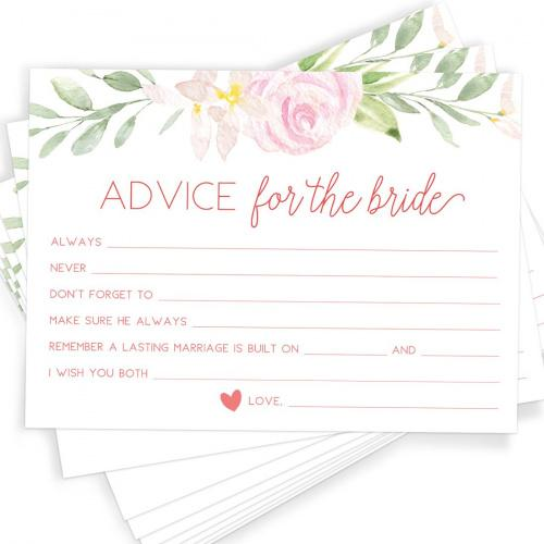 PRINTED marriage advice cards  Wishes cards printed  Advice cards wedding