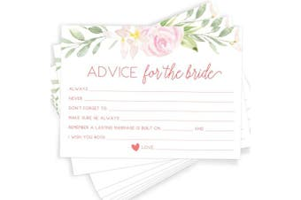 (Advice Cards) - Printed Party Advice for The Bride | Set of 50 Cards | Bridal Shower Game and Activity | Unique, Fun and Easy to Play