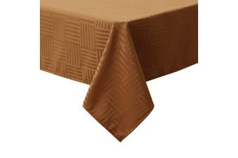 (140cm  x 140cm , Brown) - Sense Gnosis Striped Jacquard Waterproof Tablecloth Oil-proof Spill-proof Stain Resistant Square Round Tabletop Cover for Kitchen Dining Table 140cm x 140cm Holiday Decoration Table Cloths Brown