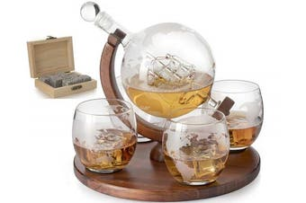 Etched World Decanter whiskey Globe - The Wine Savant, Whiskey Gift Set Decanter with Antique Ship, Whiskey Stones and 4 World Map Glasses, Great Gift - Alcohol Related Gift
