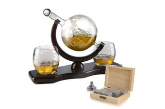 The Wine Savant World Decanter - With 2 Globe Glasses and Whiskey Stones For Whiskey or Wine With Antique Ship And Matching Globe Glasses (Mahogany Stained Wood)
