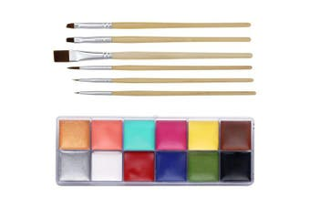 (12 deep color+brushes) - CCbeauty Professional Face Paint Oil 12 Colours Halloween Body Art Party Fancy Make Up with 6 Wooden Brushes,Deep