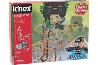 (Panther Attack) - K'NEX Thrill Rides – Panther Attack Roller Coaster Building Set with Ride It! App – 689 Piece – Ages 9+ Building Set