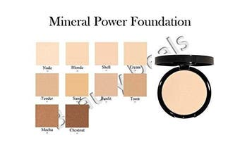 (Shell) - Beauty Deals Mineral Makeup Pressed Powder Foundation - Hypoallergenic- w/sponge (Shell)