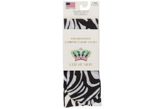 (Flow Zebra) - Celeste Stein Therapeutic Compression Socks, Flow Zebra, 8-15 mmhg, 1-Pair