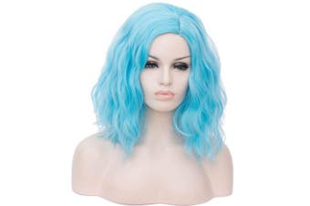 (baby blue) - 36cm Women Short Wavy Curly Wig baby blue Bob Wig Cosplay Halloween Synthetic Wigs 22 Colours Available
