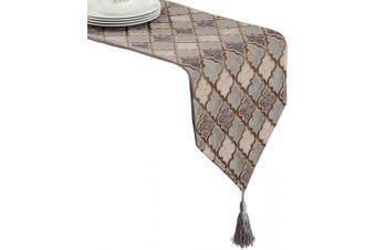 (33cm  x 160cm , Geometric Brown) - LivebyCare Multi-Size Jacquard Weave Table Runners with Tassels Elegant Modern Fall Table Runners for Home Decoration 33cm x 160cm for Dresser Tea Table Decoration