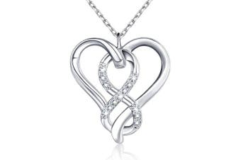 """BLINGGEM Heart Twisted Infinity Everlasting Love Knot Pendant in 925 Sterling Silver White Gold Plated AAA Cubic Zirconia Necklace for women Gift for women/wife/mother/daughter 18"""""""