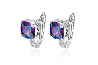 (Purple) - Bonlavie Cushion Cut Shiny Rainbow Fire Mystic Topaz 6.8 Carat Cubic Zirconia Lever Back Piercing Stud Earrings
