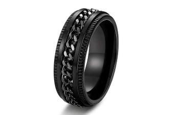 (12.5) - Adramata Stainless Steel 8mm Rings for Men Chain Rings Biker Grooved Edge, Size 7-14