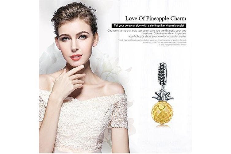 Pineapple Charm 925 Sterling Silver Summer Yellow Crystal Pineapple CZ, Pendant Beads fit Charm Bracelet DIY Jewellery Gift