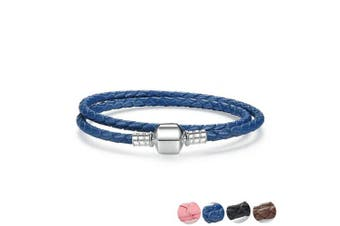 (Blue, 34.0 Centimetres) - Genuine Long Double Pink Black Blue Coffee Braided Genuine Leather Chain Women Bracelets with 925 Sterling Silver Snake Clasp