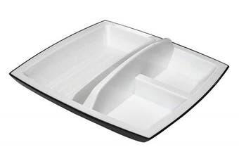 (White/Black Rectangle) - Kantek Two-Tone Rotating Smart Desk Organiser, White/Black (ORG490)