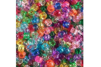 (Rainbow Transparent Mix) - Rainbow Transparent Multicolor Mix Plastic Craft Pony Beads, 6 x 9mm, 500 Beads