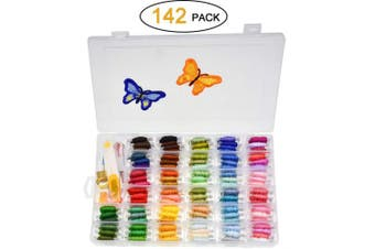 (color 1) - Looen 100 Colours Embroidery Floss with Organiser Storage Box Friendship Bracelet Floss - Prewound Floss Plastic Bobbins with Colour Number Craft Thread Weaving String Include 41 Pcs Cross Stitch Kit