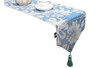 (33cm  x 180cm , Blue Blooming) - Artbisons Blue Table Runner 180cm x 33cm Linens Cotton Thickly Handmade Table Runners