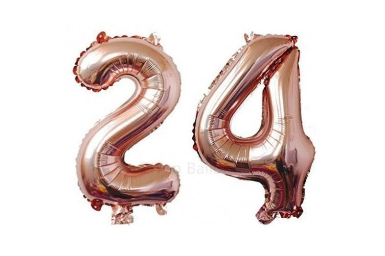 (Rose Gold Number 21) - ZiYan 100cm Giant 24th Rose Gold Number Balloons,Birthday/Party balloons