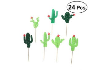 LUOEM 24Pcs Hawaii Style Cake and Cupcake Toothpick Toppers Cactus Shaped Cake Decoration for Party Dessert