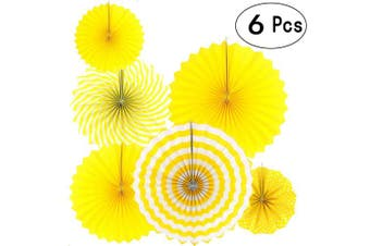(Paperfan-yellow) - Sunshine Yellow Round Hanging Paper Fans Decorations Baby Shower Birthday Wedding Party Decorations, 6pc