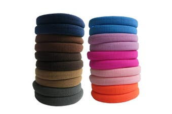 (Multicolor) - Thick Hair Ties, BETITETO 20 Pieces Seamless Ponytail Holders Scrunchies Women Cotton Stretch Hair Elastics for Thick Heavy or Curly Hair (Multicolor)