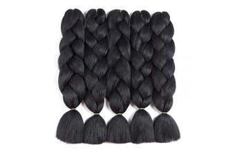 (5pcs, Black) - Jumbo Braiding Hair Pure Black 5pcs Synthetic Braiding Fibre Hair Extension for Braids Hair (5pcs, Black)