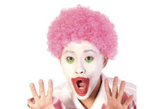(Pink) - Funny Curly Afro Wig World Cup Football Fan Cosplay Wig Humour Clown Wig 6 Colour (Pink)