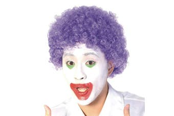 (Purple) - Funny Curly Afro Wig World Cup Football Fan Cosplay Wig Humour Clown Wig 6 Colour (Purple)