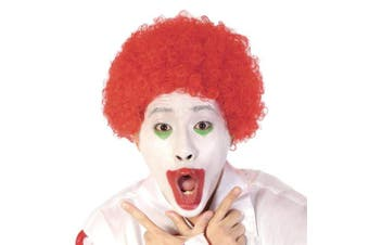 (Red) - Funny Curly Afro Wig World Cup Football Fan Cosplay Wig Humour Clown Wig 6 Colour (Red)