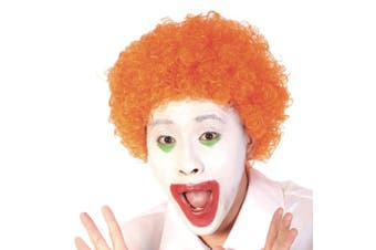 (Orange) - Funny Curly Afro Wig World Cup Football Fan Cosplay Wig Humour Clown Wig 6 Colour (Orange)