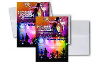 12 Michael Jackson Anniversary Birthday Invitation Cards (12 White Envelops Included) #1