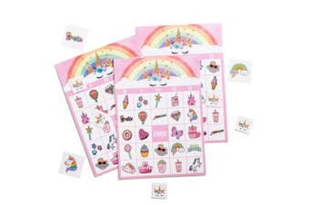 (Pink) - MISS FANTASY Unicorn Bingo Games Magical Party Games for Kids Birthday Party Favours Supplies for Girls Good for 24 Players