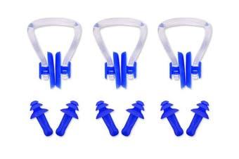 (Blue (Nose Clips Earplugs Set)) - Ace Select 3 Pieces Swimming Nose Clips PVC Silicone Swimming Nose Plugs Swim Training Protector Plug for Adult Kids